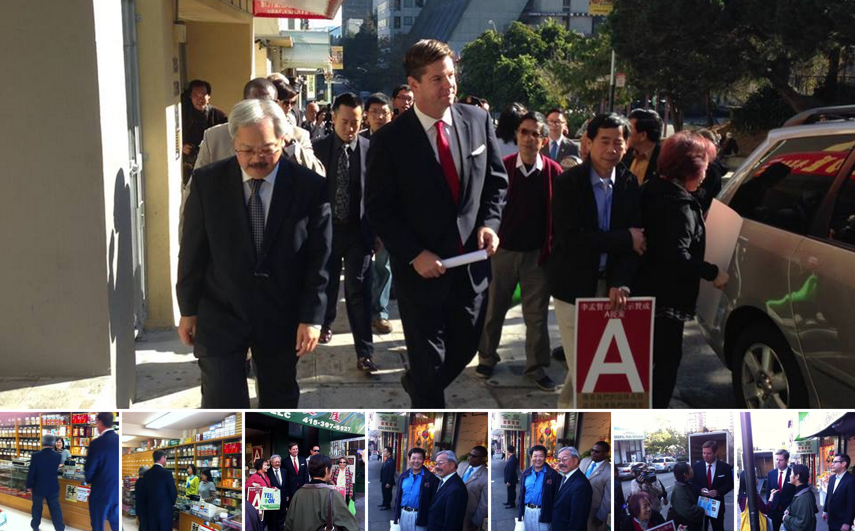 Supervisor Mark Farrell and Mayor Edwin M. Lee hit the streets of Chinatown, speaking to merchants about Yes on A for San Francisco Retirees!