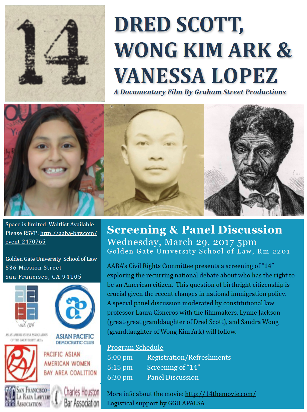 "3/29: Film Screening ""14: Dred Scott, Wong Kim Ark & Vanessa Lopez"""