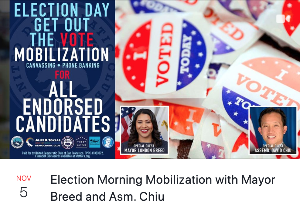 11/5 – Election Morning Mobilization with Mayor Breed and Asm. Chiu