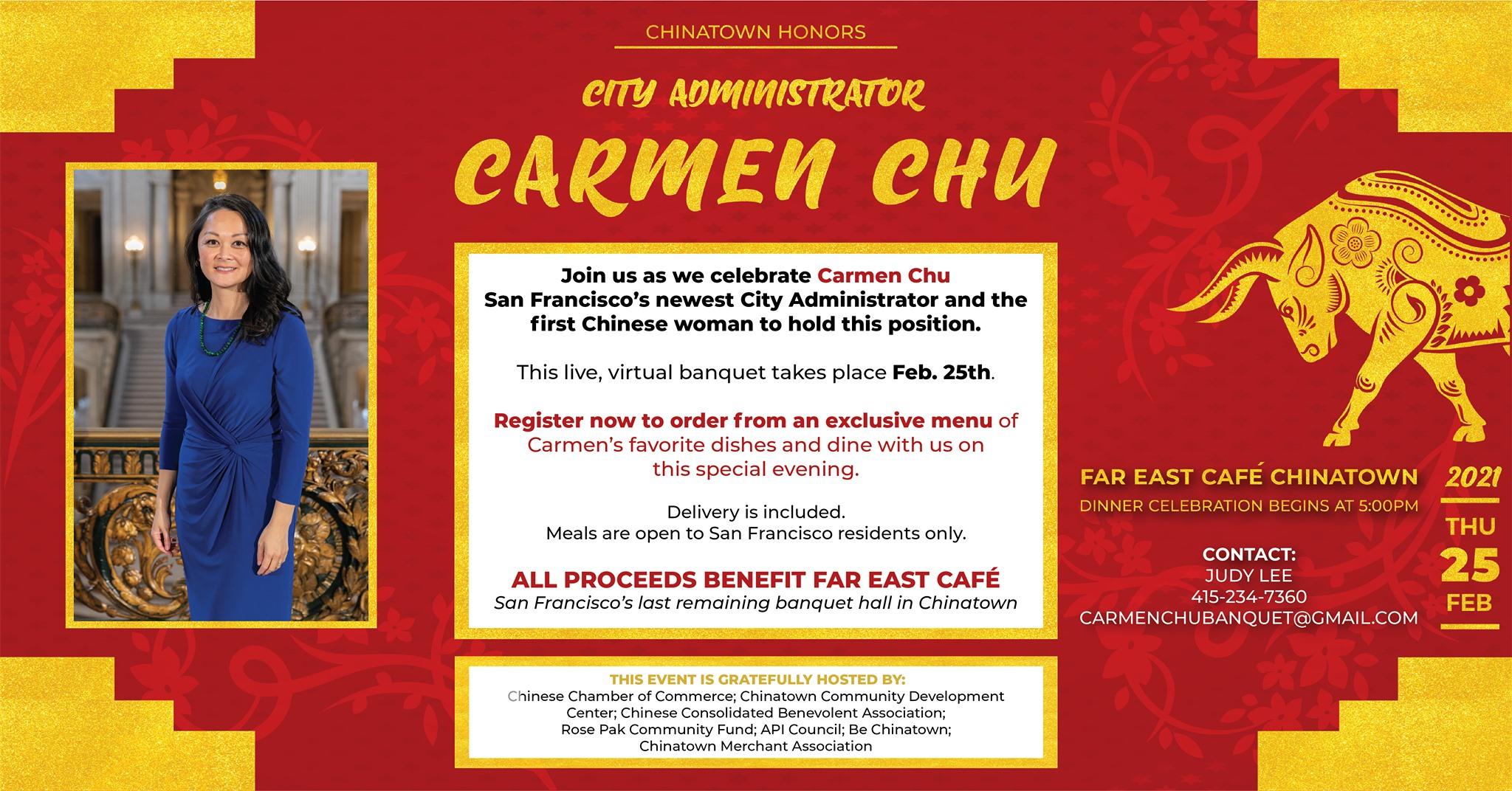 Feb 25: Chinatown Honors: City Administrator Carmen Chu Virtual Banquet